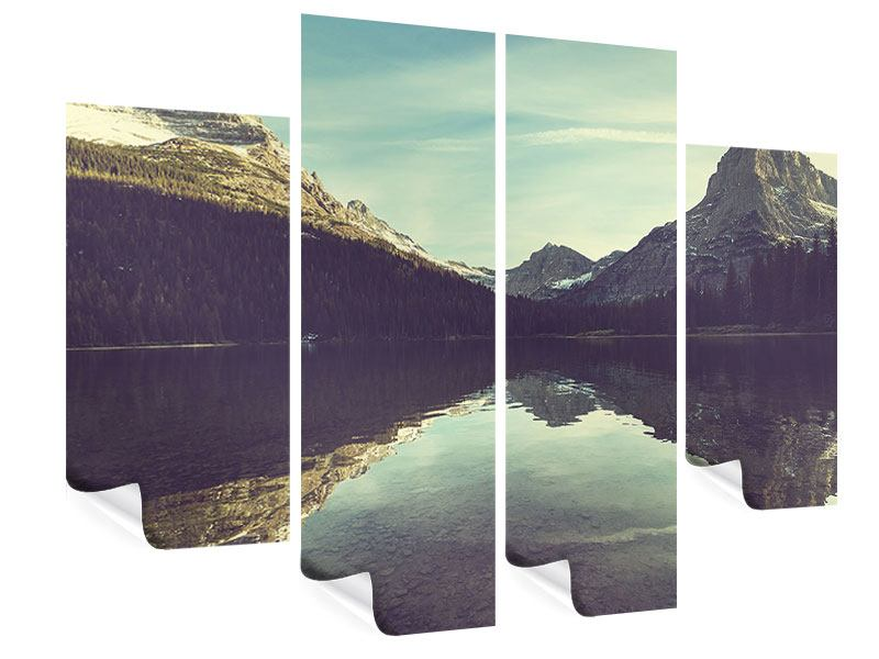 Poster 4-teilig Spiegelung im Bergsee