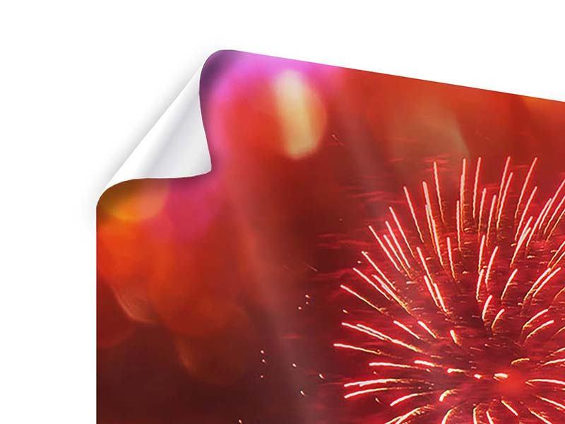 Poster 4-teilig Buntes Feuerwerk