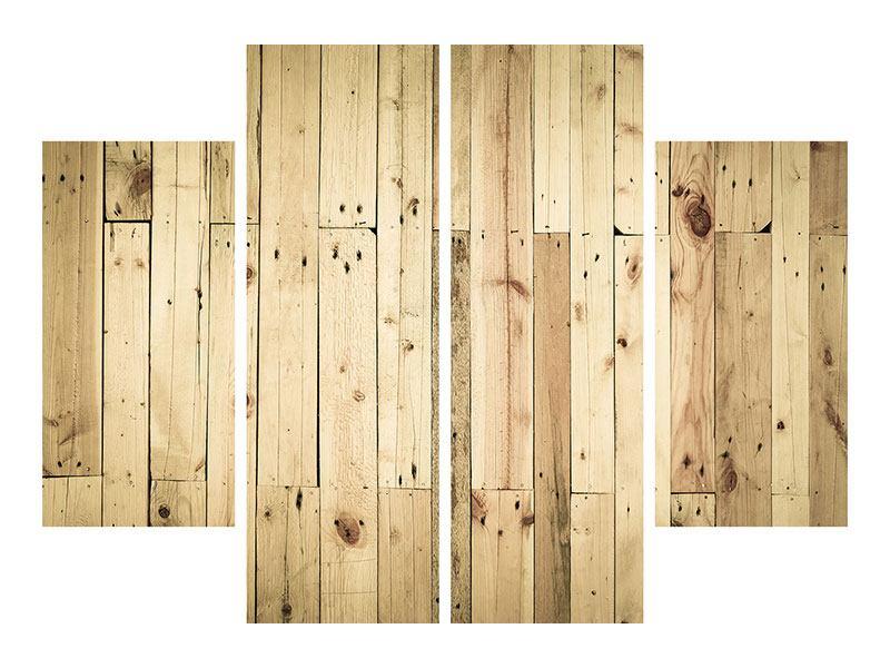 Poster 4-teilig Holzpaneelen