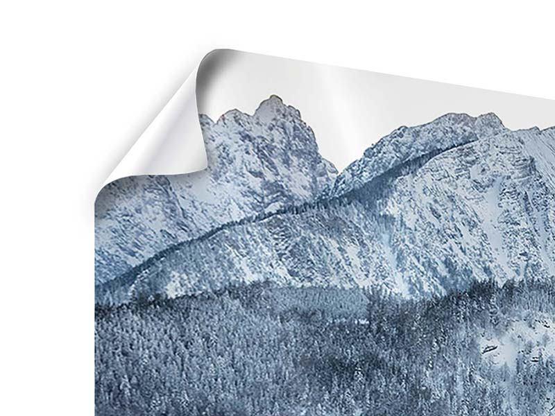 Poster 4-teilig Schwarzweissfotografie Berge