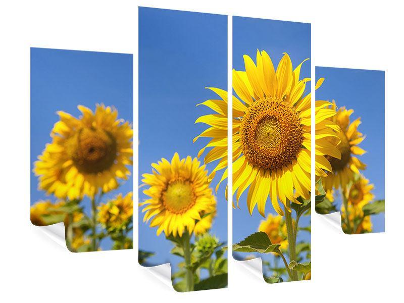 Poster 4-teilig Himmlische Sonnenblumen