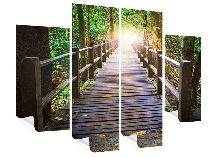 Poster 4-teilig Die Brücke im Wald