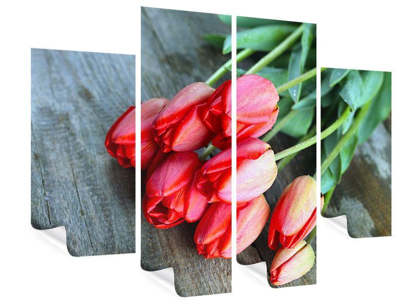 Poster 4-teilig Der rote Tulpenstrauss