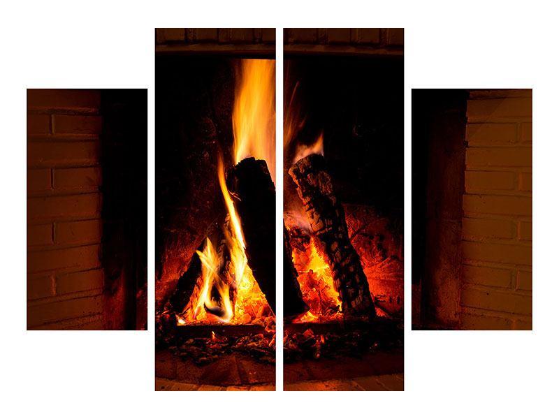 Poster 4-teilig Feuer im Kamin