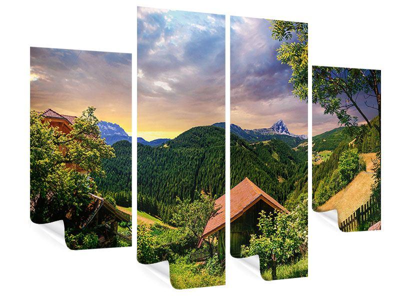 Poster 4-teilig Schweizer Berge im Sommer