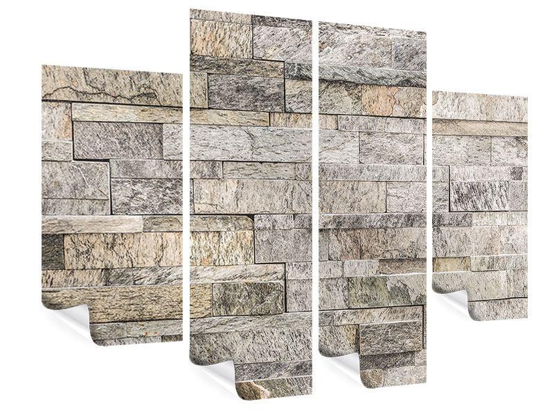 Poster 4-teilig Elegante Steinmauer