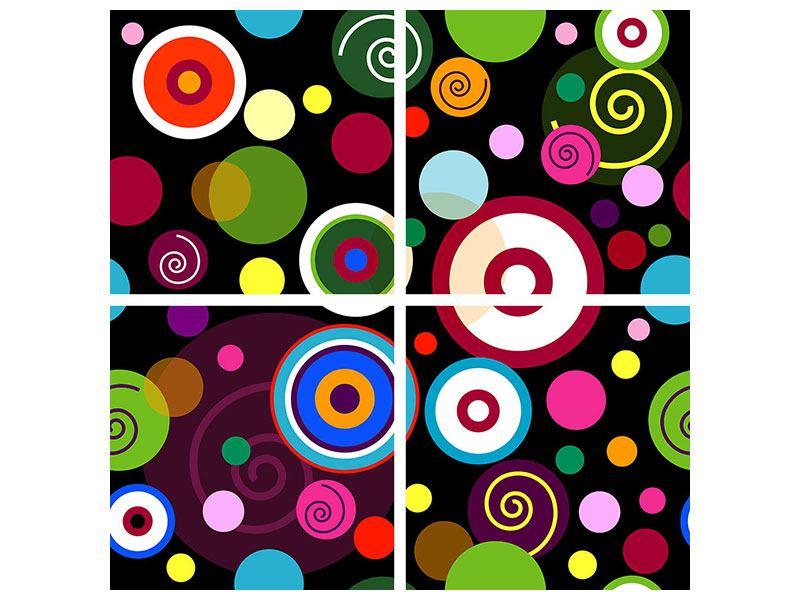 Poster 4-teilig Bunte Retrolook Kreise