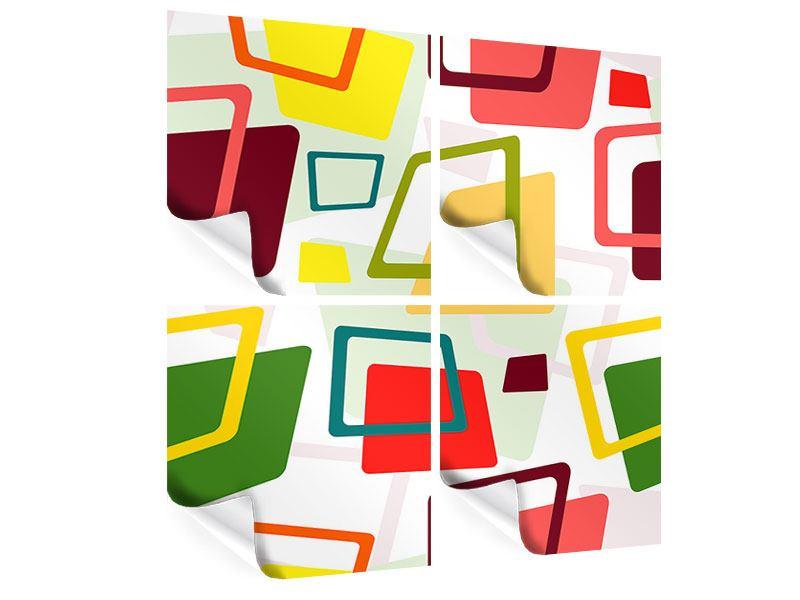 Poster 4-teilig Rechtecke im Retrodesign