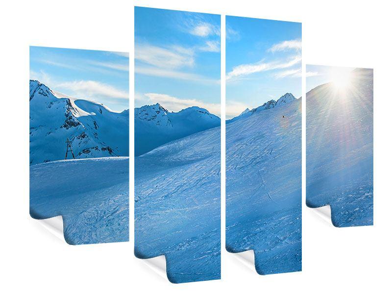 Poster 4-teilig Sonnenaufgang in den Bergen