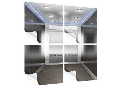 Poster 4-teilig Eleganter Aufzug
