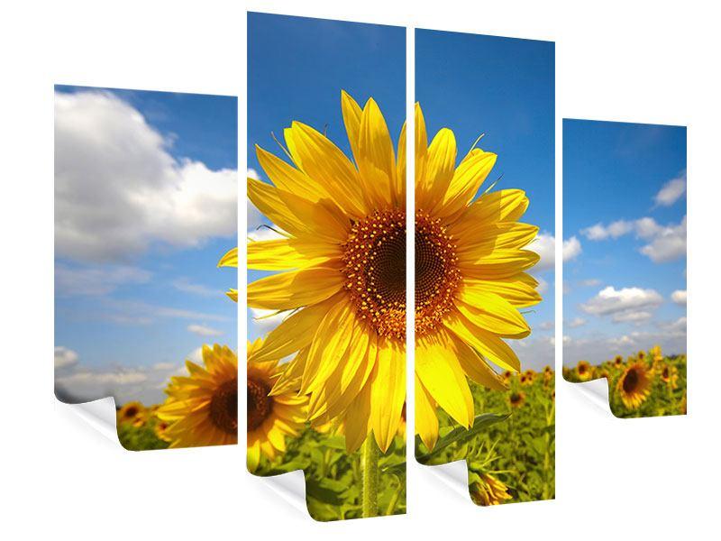 Poster 4-teilig Das Feld der Sonnenblumen