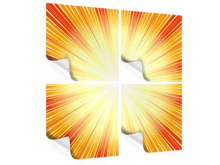 Poster 4-teilig Abstrakte Retro Sonne