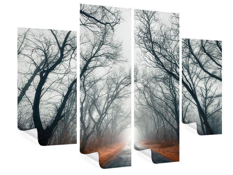 Poster 4-teilig Mysteriöse Stimmung im Wald