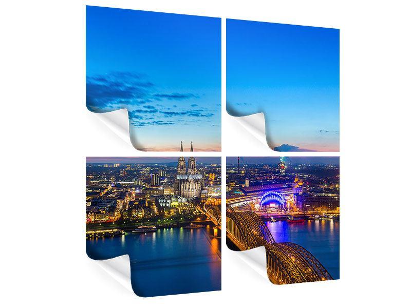 Poster 4-teilig Skyline Ein Penthouse in Köln
