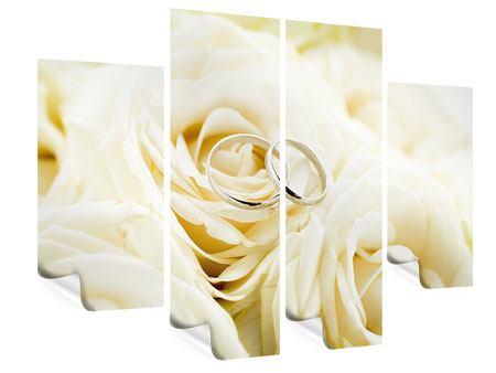 Poster 4-teilig Trauringe auf Rosen gebettet