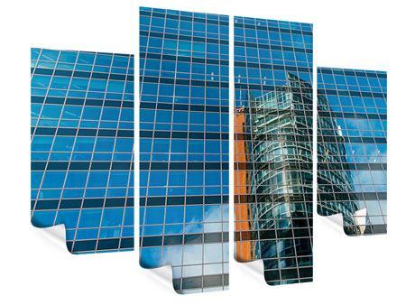 Poster 4-teilig Wolkenkratzer-Spiegel