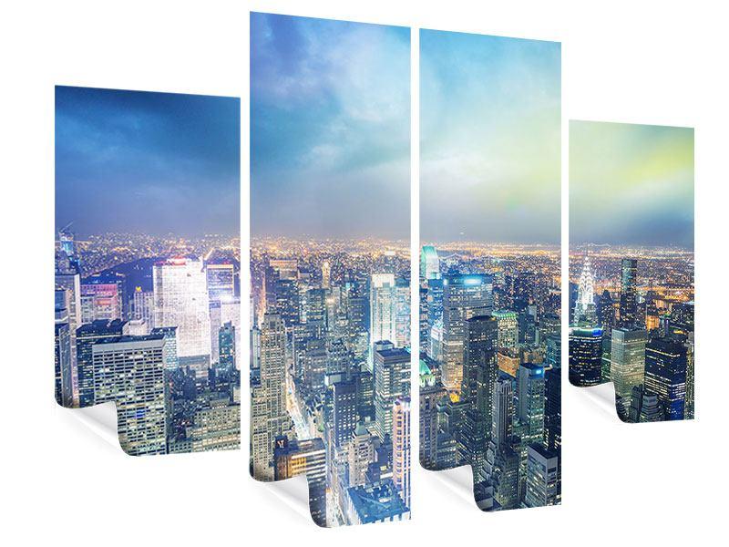 Poster 4-teilig Skyline NY bei Sonnenuntergang