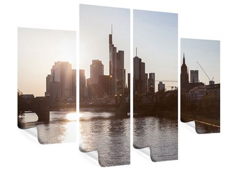 Poster 4-teilig Skyline Sonnenaufgang bei Frankfurt am Main