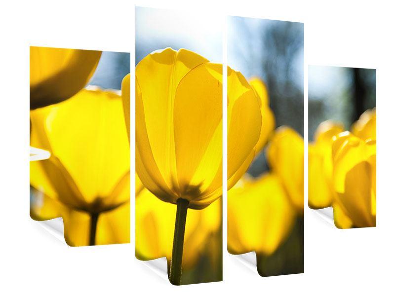 Poster 4-teilig Gelbe Tulpen in XXL