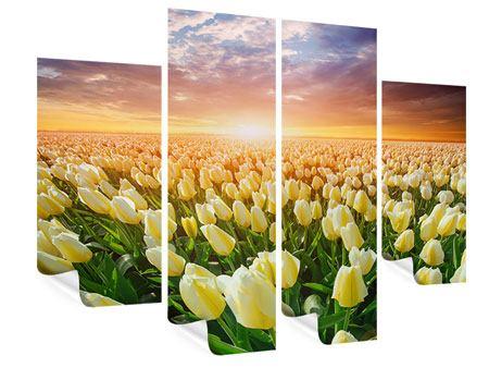 Poster 4-teilig Sonnenaufgang bei den Tulpen
