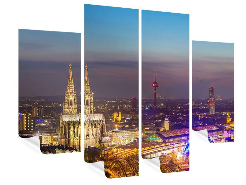 Poster 4-teilig Skyline Kölner Dom bei Nacht