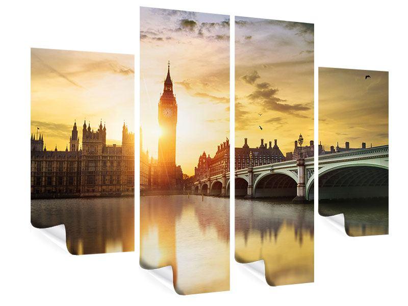 Poster 4-teilig Skyline Big Ben im Sonnenuntergang