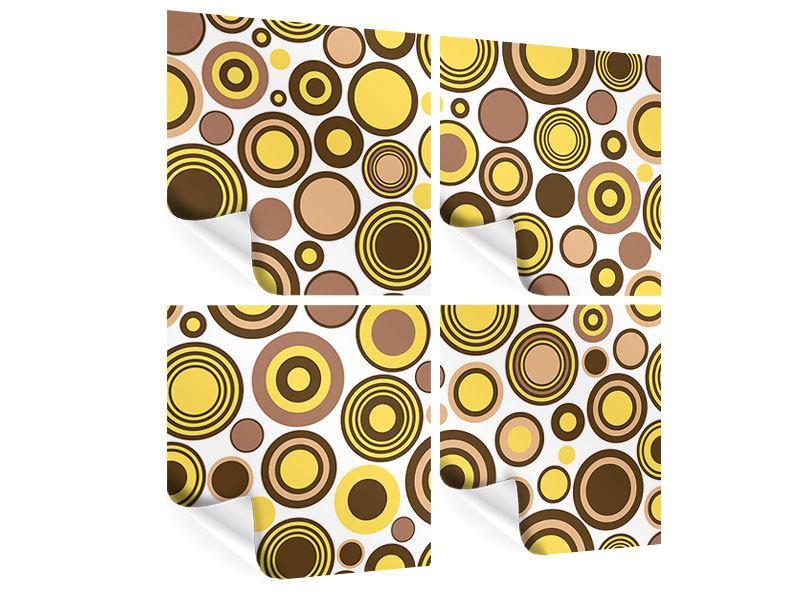 Poster 4-teilig Kreise im Retrodesign
