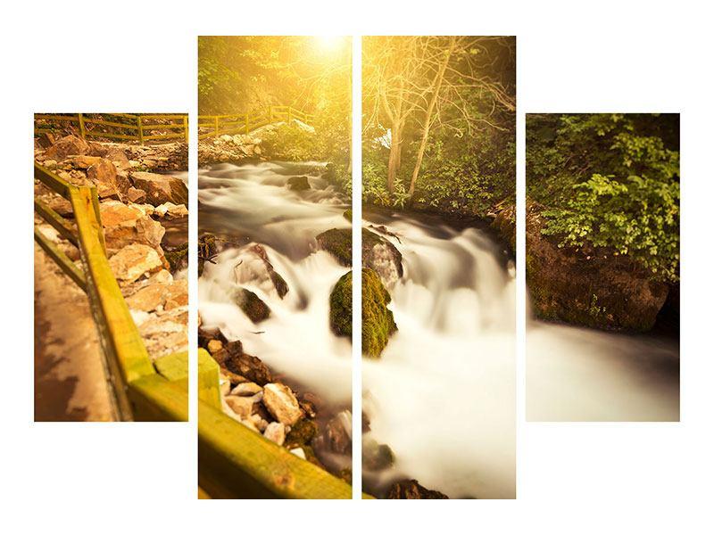 Poster 4-teilig Sonnenuntergang am Wasserfall