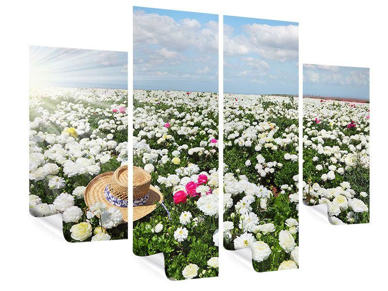Poster 4-teilig Die Frühlingsblumenwiese