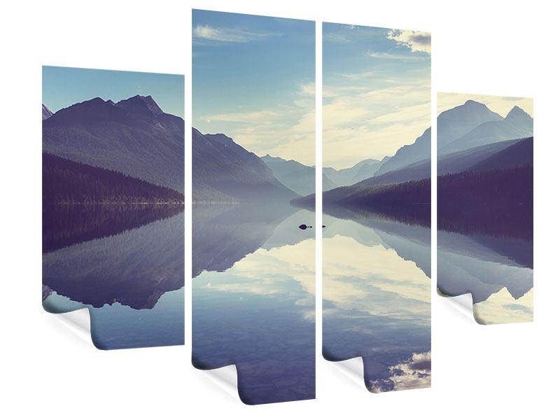 Poster 4-teilig Bergspiegelung