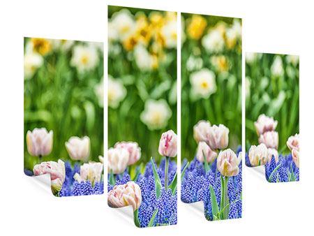 Poster 4-teilig Ein Garten mit Tulpen