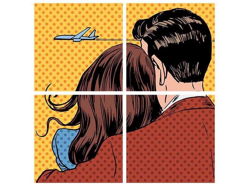 Poster 4-teilig Pop Art Zweisamkeit