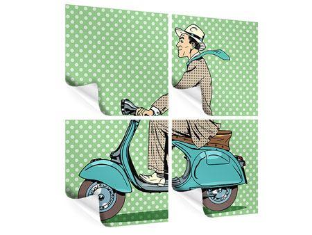 Poster 4-teilig Pop Art Vespafahrer