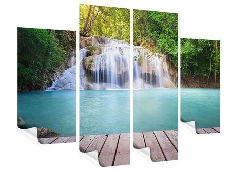 Poster 4-teilig Terrasse am Wasserfall