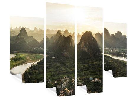Poster 4-teilig Die Berge von Xingping
