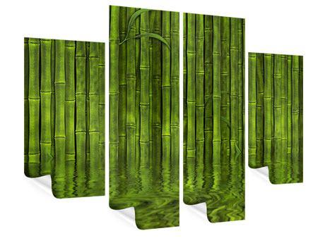 Poster 4-teilig Wasserspiegelung Bambus