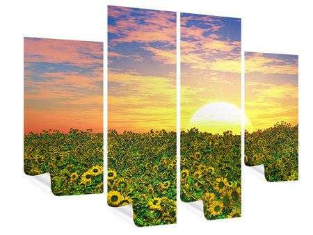 Poster 4-teilig Blumenpanorama bei Sonnenuntergang