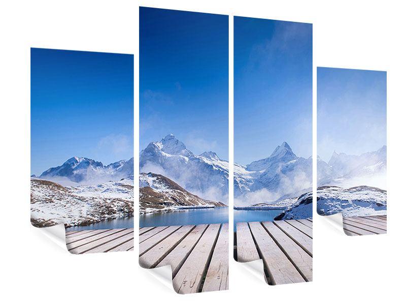 Poster 4-teilig Sonnenterrasse am Schweizer Bergsee
