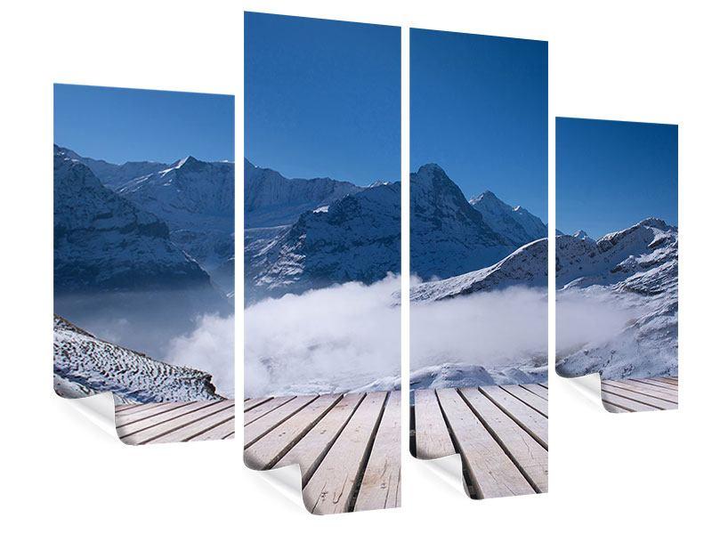 Poster 4-teilig Sonnenterrasse in den Schweizer Alpen