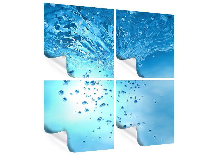 Poster 4-teilig Wasserblasen