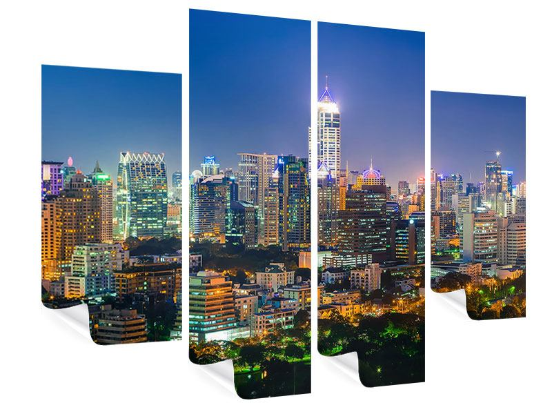 Poster 4-teilig Skyline One Night in Bangkok