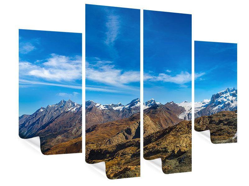 Poster 4-teilig Schweizer Alpen im Frühling