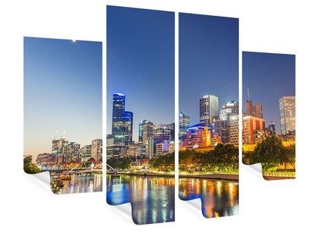 Poster 4-teilig Skyline Sydney in der Abenddämmerung