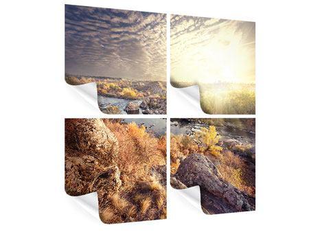 Poster 4-teilig Sonnenaufgang am Fluss