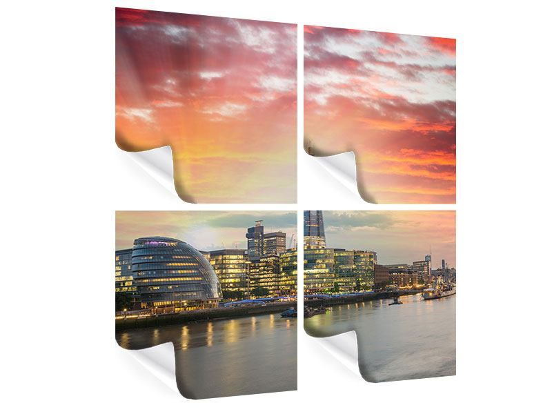 Poster 4-teilig Skyline London im Abendrot