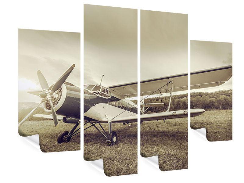 Poster 4-teilig Nostalgisches Flugzeug im Retrostyle