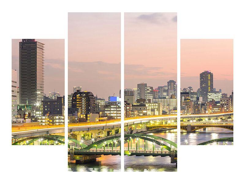 Poster 4-teilig Skyline Das Lichtermeer von Tokio