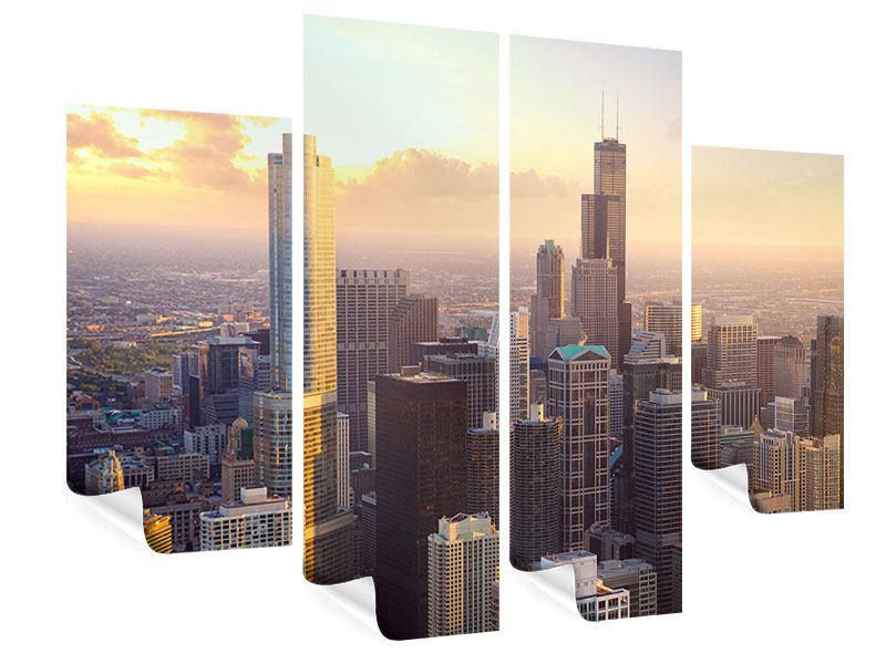 Poster 4-teilig Skyline Chicago