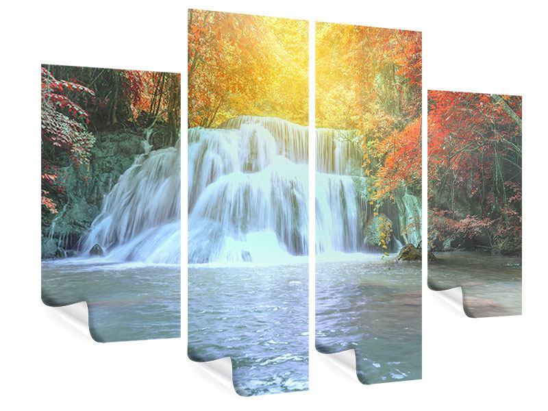Poster 4-teilig Wasserfall im Licht