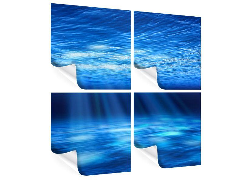 Poster 4-teilig Licht unter Wasser